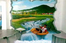 3d mural painters of optical illusion of 3d trick art in indonesia