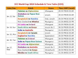 Cricket World Cup Table Learn New Things Icc World Cup 2018 Schedule U0026 Time Table U19