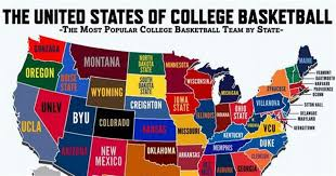 map us colleges map most popular college basketball teams by state