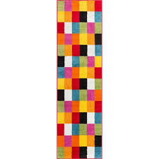 2 X 7 Runner Rug Woven Bright Geometric Square Checkered Multi Runner Rug 2 U0027 X 7 U00273
