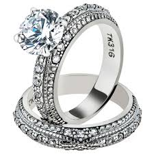 vintage wedding ring sets artk1228 stainless steel 3 25 ct cut cz vintage wedding ring