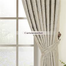 Fabric Drapes Beige Jacquard Fabric Curtains For Blackout One