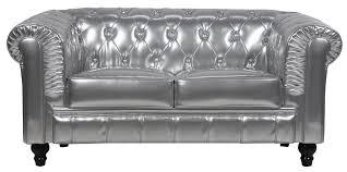 Benjamin Sofa Benjamin Classical 2 Seater Pu Leather Sofa In Silver Furniture