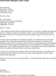 example of community manager cover letter for job huanyii com