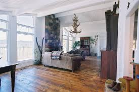distressed wood flooring living room rustic with antique floor