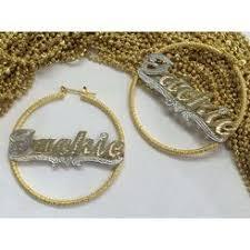 Gold Name Earrings Personalized Name Big Gold Hoop Earrings
