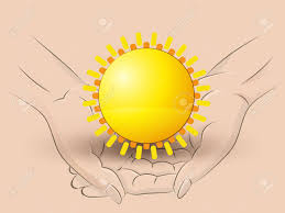 Flag Yellow Sun Holding A Sun In Two Hands Royalty Free Cliparts Vectors And