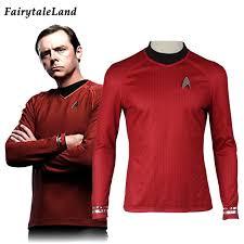 Red Shirt Halloween Costume Aliexpress Buy Star Trek Darkness Scotty Red Men Casual