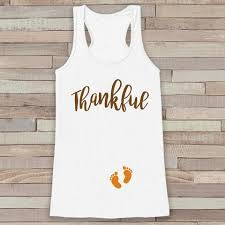 thanksgiving pregnancy announcement tank top thankful for baby