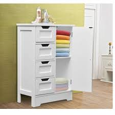 Bathroom Drawer Cabinet Homcom White Wooden Cabinet W 4 Drawers Cupboard For Bathroom