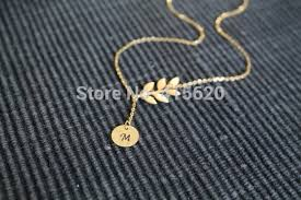 monogram initial necklace gold sideways leaf necklace initial necklace personal monogram letter