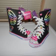 skechers light up shoes on off switch 38 off skechers other new light up high top sneakers for girls sz