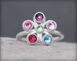 6 mothers ring mothers ring birthstone ring family jewelry engraved ring