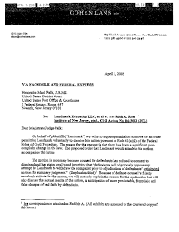 file 2005 landmark v ross voluntary dismissal letter lans to falk