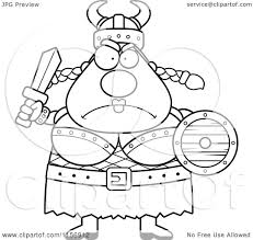 cartoon clipart of a black and white mad plump female viking