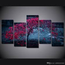 2018 5 panel hd printed tree light purple autumn painting canvas