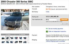 auto bid on ebay barack obama s chrysler 300c for sale for 1 million on ebay jan