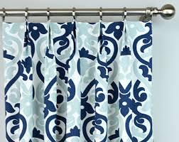 navy blue white cecelia damask modern floral curtains pinch