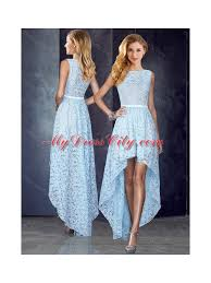 Light Blue High Low Dress 2016 Bateau High Low Light Blue Prom Dress In Lace Mydresscity Com