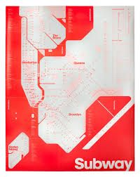 New York City Subway Maps by Design Limited Edition Fluorescent Red New York City Subway Map