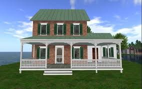 Farmhouse With Wrap Around Porch Second Life Marketplace Reduced Price Quaint Old Brick