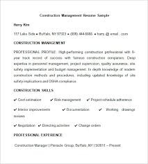 Resume Of Experienced Construction Manager Construction Resume Templates Warehouse Resume Templates