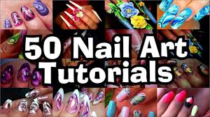 50 nail art tutorials in one video using nail gel polish and
