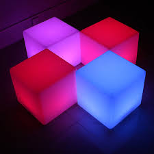 Led Outdoor Furniture - 500mm cube chair led outdoor furniture glowing stool 100