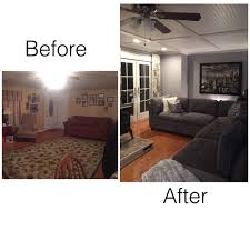 before and after living room remodel beadboardceiling