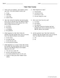 tikki tikki tembo worksheets tikki tikki tembo grade 2 free printable tests and worksheets