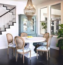 White Washed Kitchen Table by Round Whitewashed Dining Table With Gray Beaded Chandelier