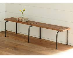 Wood Bench With Metal Legs Rustic Plank Bench With 3 Legs Magnolia Home