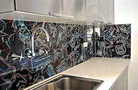 graffiti style coca cola inspired backsplash for the eclectic
