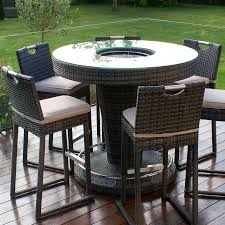 Garden Bar Table And Stools Lagos Brown Rattan Garden Bar With And 6 Stools