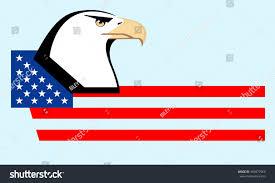 Blue White And Black Flag Bald Eagle Head Profile Usa Blackandwhite Stock Vector 469877960