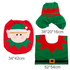 Santa Claus Rugs 3pcs Fancy Santa Claus Toilet Seat Cover Rug Bathroom Set Contour