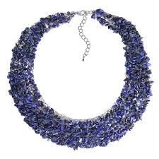 blue stones necklace images Collared cluster genuine navy blue lapis bead wire works necklace jpg