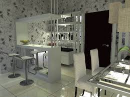 mini home bar in the corner space with white color scheme and