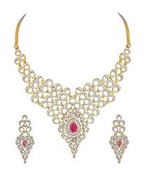 necklace diamond gold images Buy youbella jewellery american diamond gold plated necklace set jpg