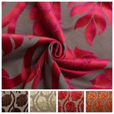 Colourful Upholstery Fabric Two Tone Multi Coloured Raised Large Floral Cut Velvet Upholstery