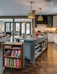 Kitchen Cabinets Open Shelving Gray Island With Open Shelves Copper Pendant Lights White Sofas