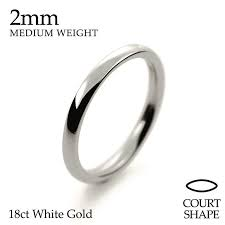 18ct white gold wedding ring handmade 18ct white gold 2 5mm court shape wedding ring