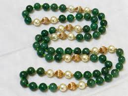 beaded jade necklace images 1829 vintage chinese green jade bead necklace in chain necklaces jpg