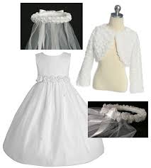dresses jackets and veils for the girls first holy communion