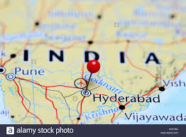Hyderabad Map Hyderabad Pinned On A Map Of India Stock Photo Royalty Free Image