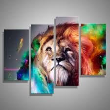 aliexpress com buy oil painting canvas abstract animal lion king aliexpress com buy oil painting canvas abstract animal lion king wall art home decor modern decorative modular wall pictures for living room 4pcs from