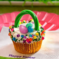 Decorating Easter Basket Ideas by Easter Basket Cupcake Idea Party City