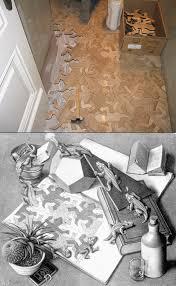 m c escher inspired interlocking floor pieces might be coolest