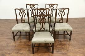 dining room kitchen harp gallery antique furniture kittinger signed set of 6 vintage mahogany georgian dining chairs new upholstery