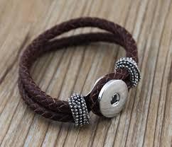 bracelet clasps diy images 10pcs lot diy snap brown leather braid wrap bracelet ginger snaps jpg
